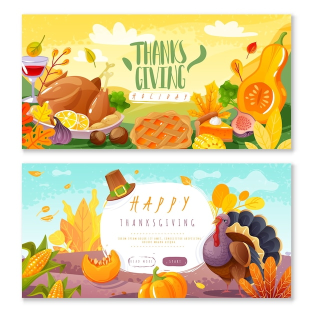 Thanksgiving day horizontale banners. twee horizontale banners in cartoon stijl op het thema van thanksgiving en oogstfeest traditionele gezinsvakantie pictogrammen geïsoleerde items Premium Vector