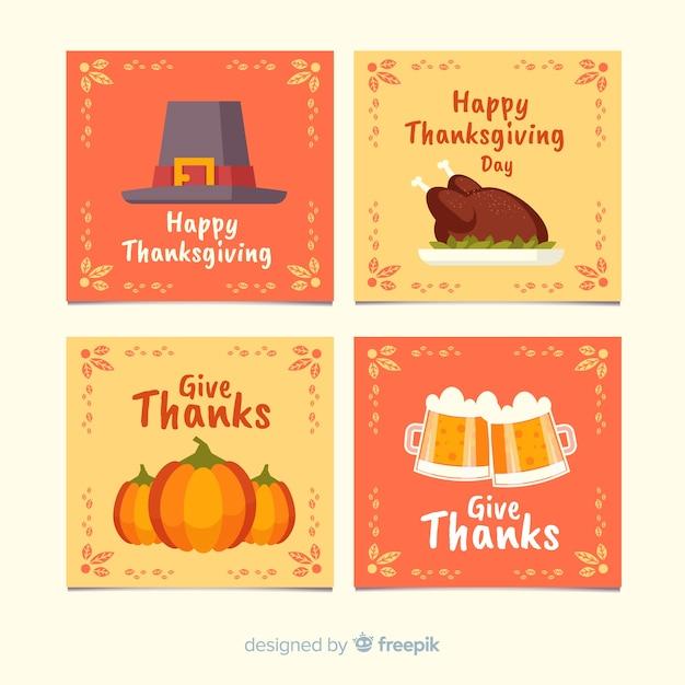 Thanksgiving day-kaartinzameling in vlak ontwerp Gratis Vector