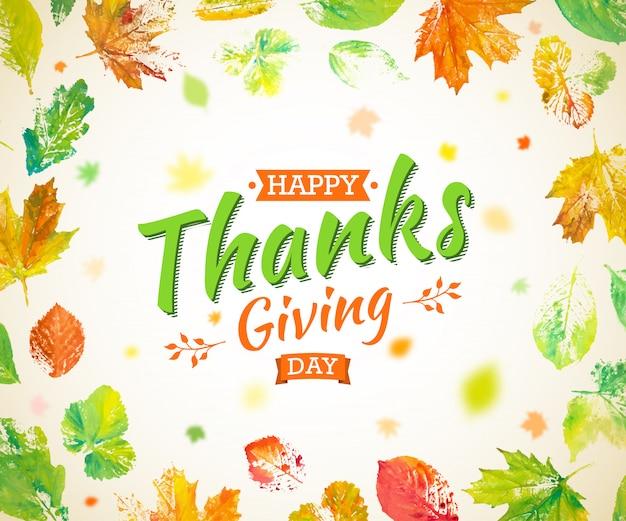 Thanksgiving day posterontwerp. herfst wenskaart. herfst kleurrijke bladeren geschilderd in aquarel met belettering happy thanksgiving day. hand getekend geschilderd gebladerte van esdoorn, eik, esp. Premium Vector