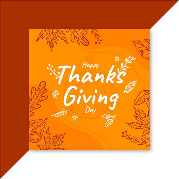 Thanksgiving facebook berichtsjabloon Gratis Vector