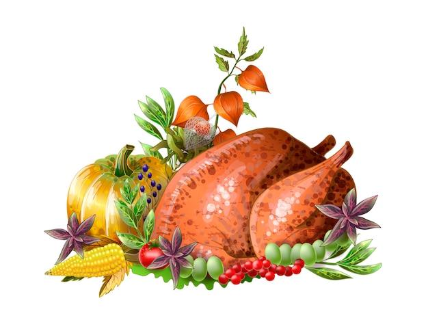 Thanksgiving gebakken kalkoen met groenten en kruiden geïsoleerd Premium Vector