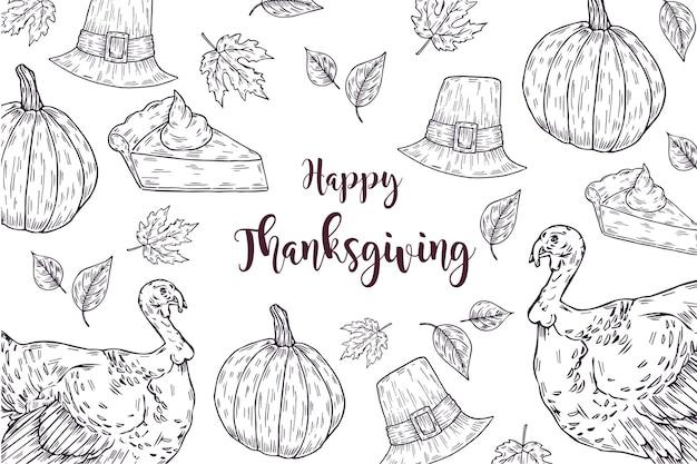 Thanksgiving hand getrokken achtergrond Gratis Vector