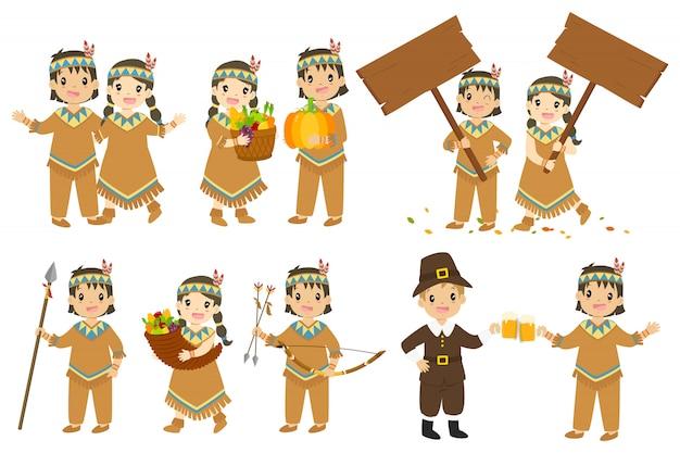 Thanksgiving inboorlingen paar cartoon karakter vector set. Premium Vector