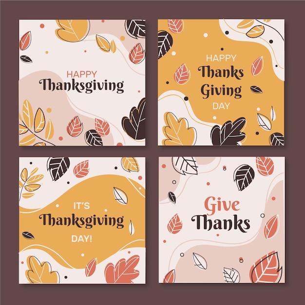 Thanksgiving instagram-berichten in plat ontwerp Gratis Vector