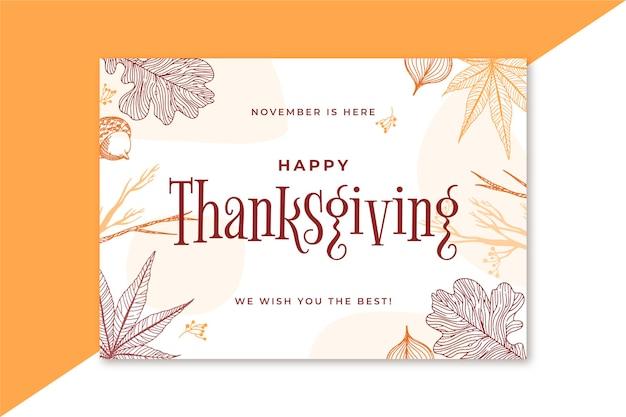 Thanksgiving kaartsjabloon Gratis Vector