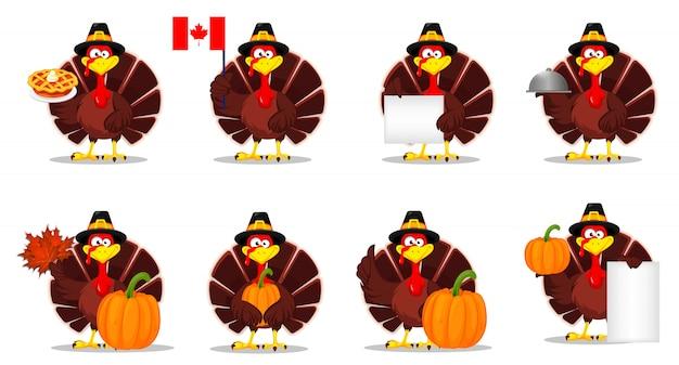Thanksgiving kalkoen. happy thanksgiving day Premium Vector