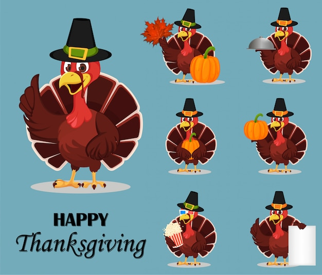 Thanksgiving kalkoen vogel Premium Vector