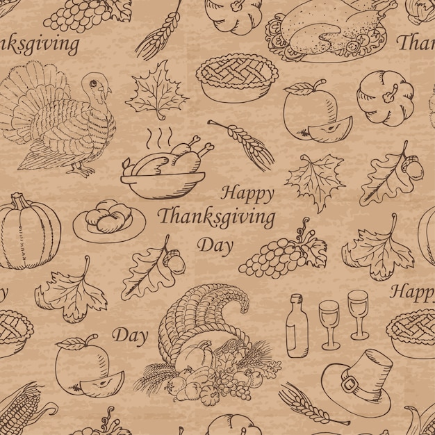 Thanksgiving naadloze patroon Premium Vector