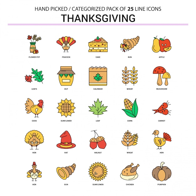 Thanksgiving platte lijn icon set Premium Vector