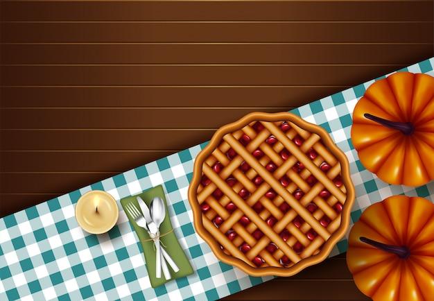 Thanksgiving taart diner op houten tafelblad weergave Premium Vector