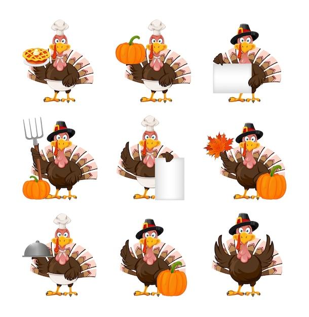 Thanksgiving turkije vogel, set van negen poses Premium Vector