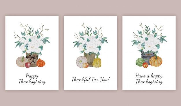 Thanksgiving wenskaarten set Premium Vector
