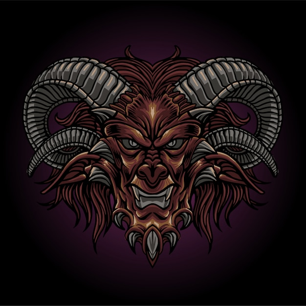 The bad demon head Premium Vector