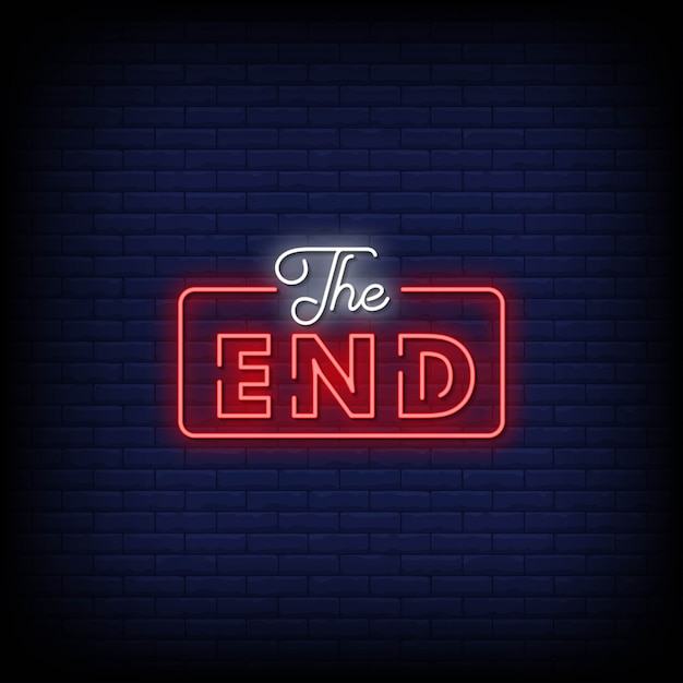 The end neon signs style text Premium Vector
