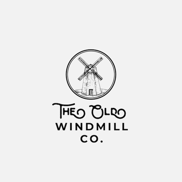 The old wind mill company abstract teken, symbool of logo Premium Vector