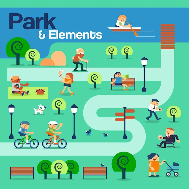 The park and elements with peoples. Premium Vector