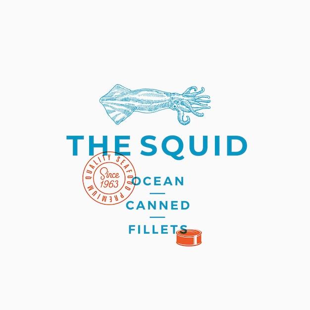 The squid ocean ingeblikte filets. abstract teken, symbool of logo sjabloon. Gratis Vector