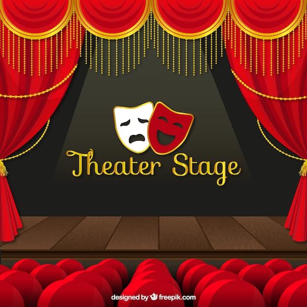 Theater achtergrond achtergrond Gratis Vector