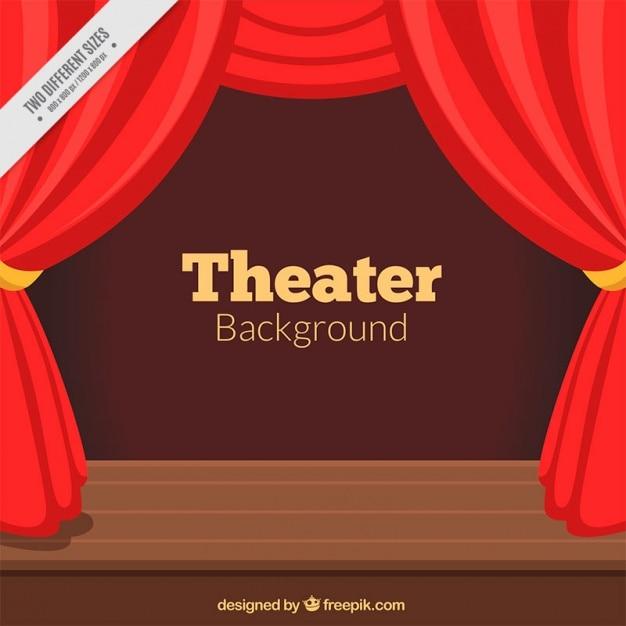 theater achtergrond met rode gordijnen en houten podium gratis vector