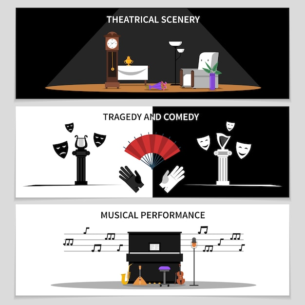 Theater banners set Gratis Vector