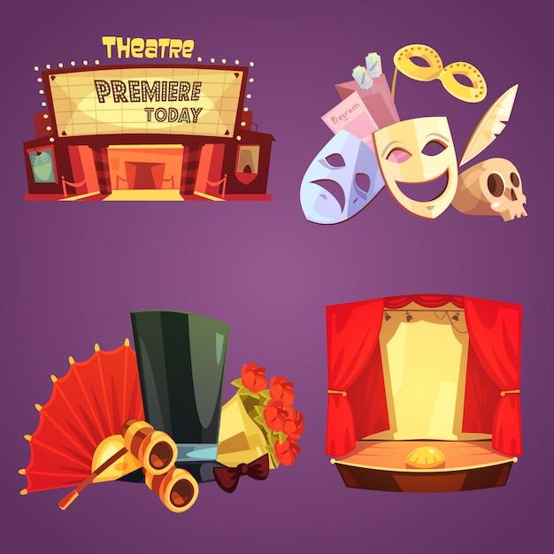 Theater decoraties kaartenset Gratis Vector