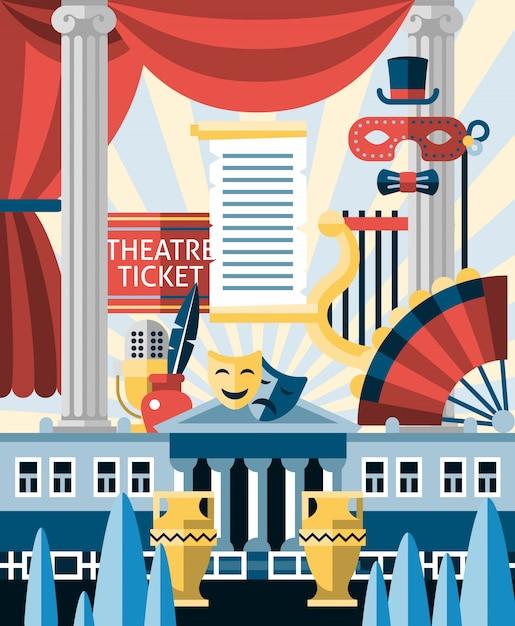 Theater illustratie concept Gratis Vector