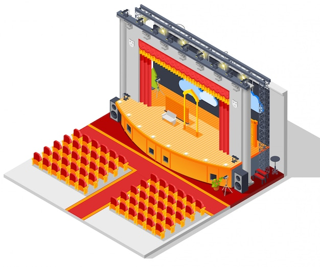 Theater interieurconcept Gratis Vector