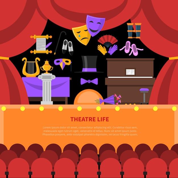 Theater leven concept achtergrond Gratis Vector
