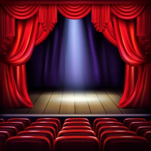 Theater- of concertzaalpodium met geopende rode gordijnen, schijnwerpers in het midden Gratis Vector