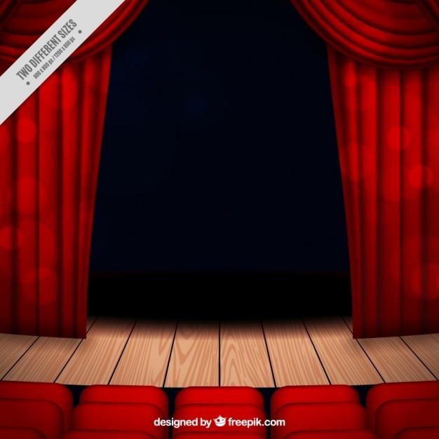 Theater podium achtergrond met gordijnen en stoelen Vector | Gratis ...