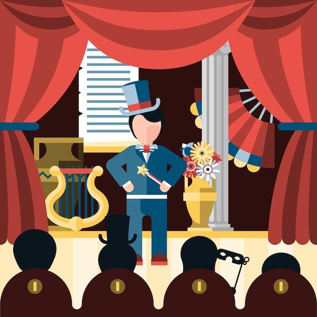 Theater toneelstuk concept Gratis Vector