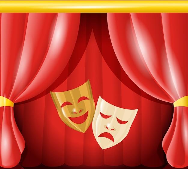 Theatermaskers op de achtergrond Gratis Vector