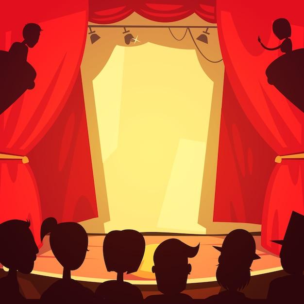 Theaterstadium en openbare beeldverhaalillustratie Gratis Vector