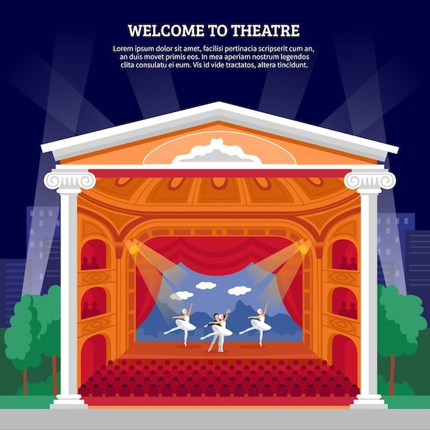 Theateruitvoering playbill platte kleurrijke print Gratis Vector