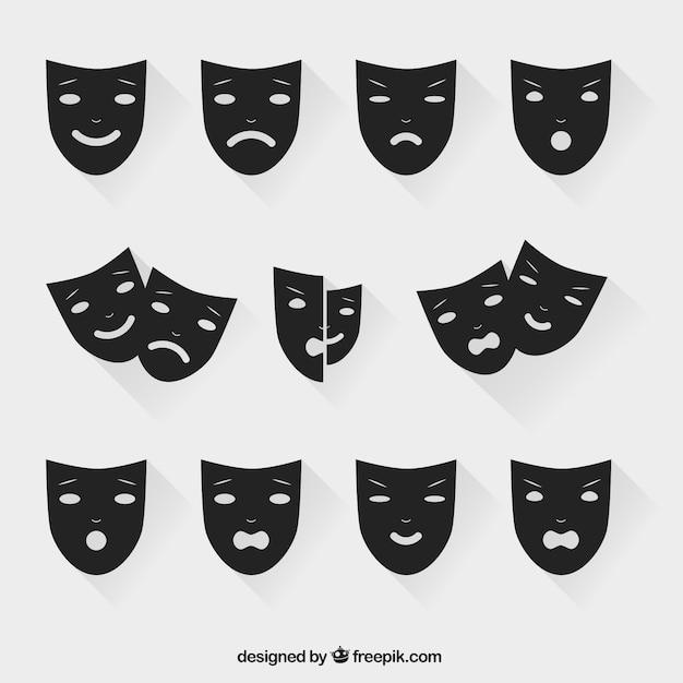 Theatrale maskers Gratis Vector