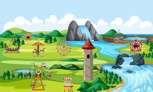 Thema-amusement natuurpark landschapsscène en veel ritten landschapsscène Gratis Vector