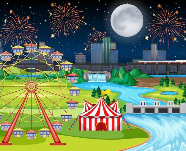 Thema-avond pretparkfestival met grote maanlandschapsscène Gratis Vector