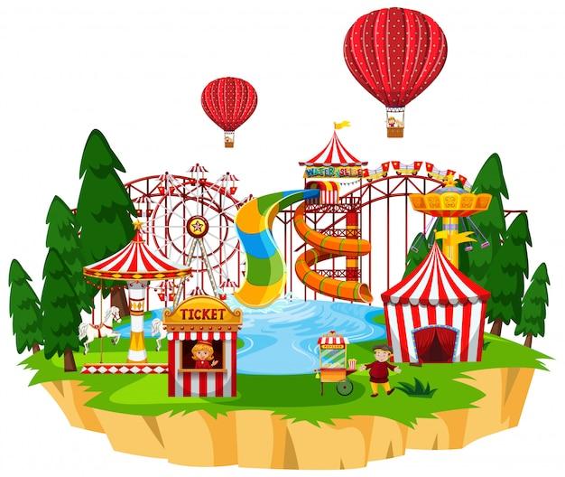 Themapark met veel attracties en waterpark Gratis Vector