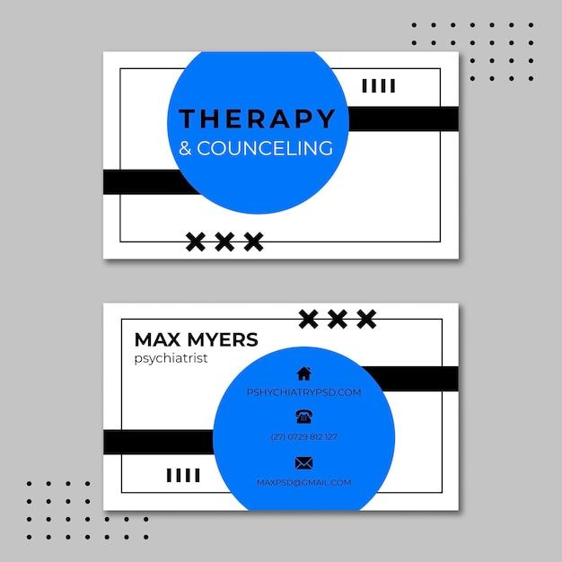 Therapie sessies horizontale visitekaartjesjabloon Premium Vector