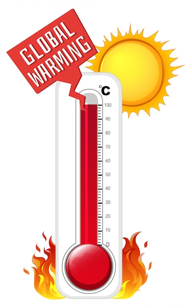 Thermometer in zomerweer Gratis Vector