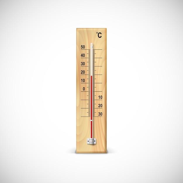 Thermometer op houten voet met celsius schaal Premium Vector