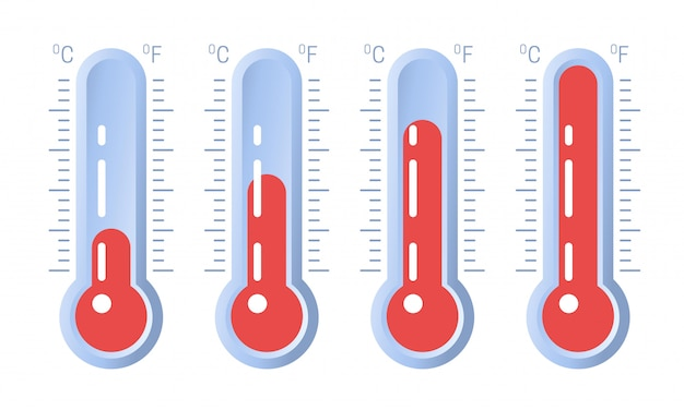 Thermometerpictogram of temperatuursymbool met verschillende niveaus Premium Vector