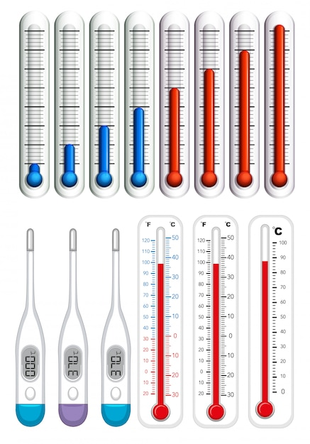 Thermometers op verschillende schalen Gratis Vector