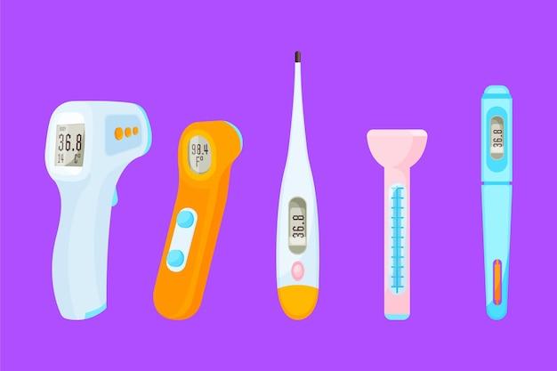 Thermometertypes in plat ontwerp Gratis Vector