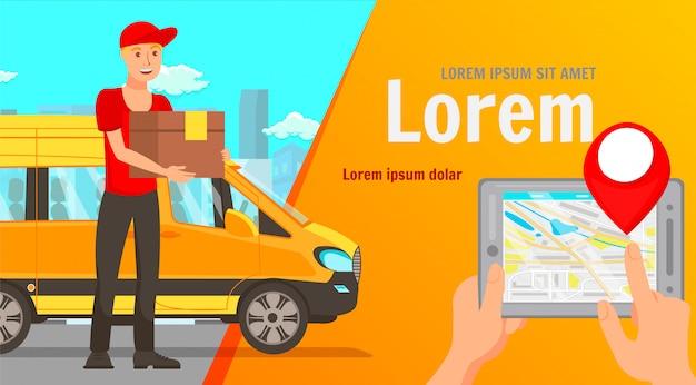 Thuis levering app platte web banner vector sjabloon Premium Vector