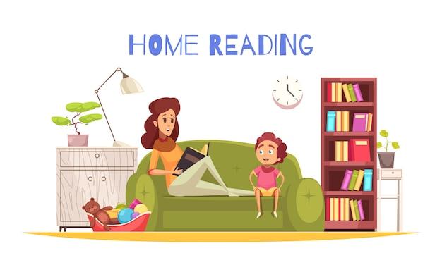 Thuis lezen met boekenplanklamp en bank plat Gratis Vector