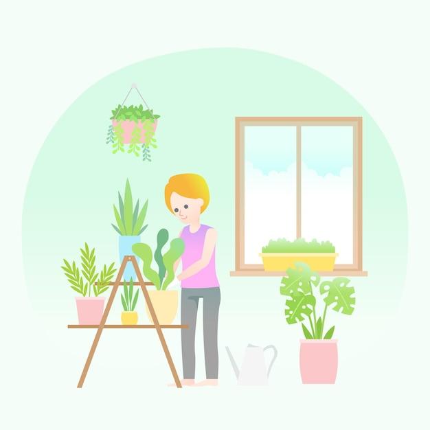 Thuis tuinieren concept Gratis Vector