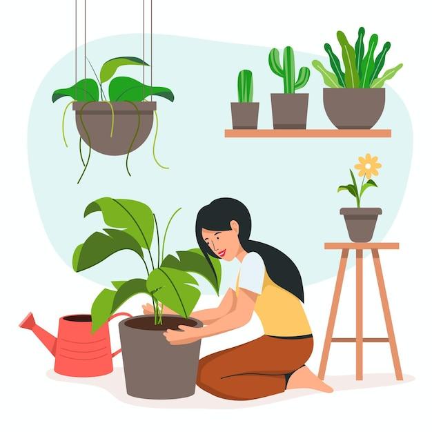 Thuis tuinieren concept Premium Vector