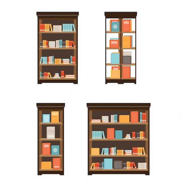 Thuisbibliotheek met boeken. Premium Vector