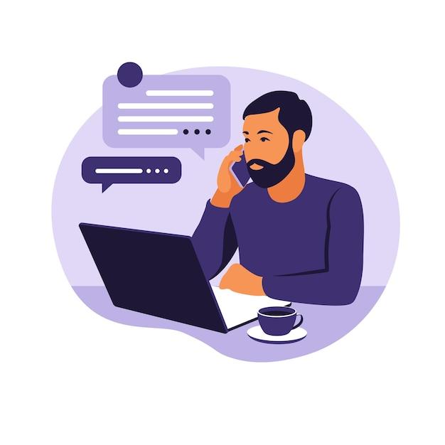 Thuiskantoorconcept, man aan het werk vanuit huis. student of freelancer. freelance of studeren concept. vector illustratie. vlakke stijl. Premium Vector